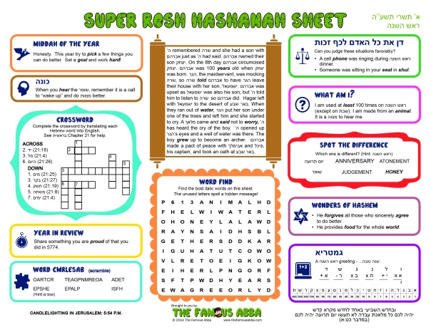 Super Shabbos Sheet - Rosh Hashana 1 Tishrei 5774